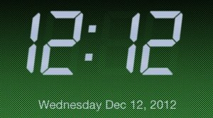 The screen shot I took of my iPod screen at 12:12 on December 12, 2012.