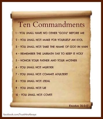 Ten Commandments on a scroll