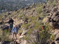 Some members of our hiking party approaching one of many steep segments of the trail.