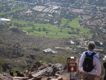 Descending Cholla Trail. Good view of a golf course in the upper half of the photo.