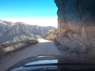 Drivers view on Apache Trail, Arizona
