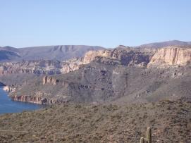 Canyon walls towering over Apache Lake, Arizona